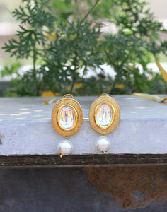 Meena Bazaar: Golden-tone Statement Studs With Pearl Drop