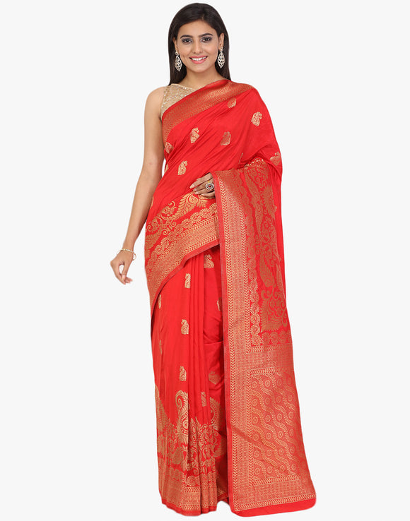 Handloom Silk Woven Saree With Floral Border and Paisley Booti By Meena Bazaar