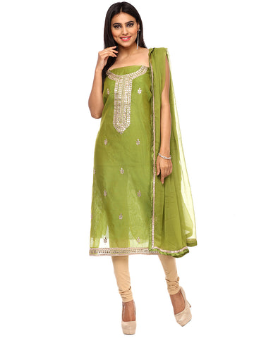 Unstitched Cotton Chanderi Suit With Gotta Patti Embroidery By Meena Bazaar