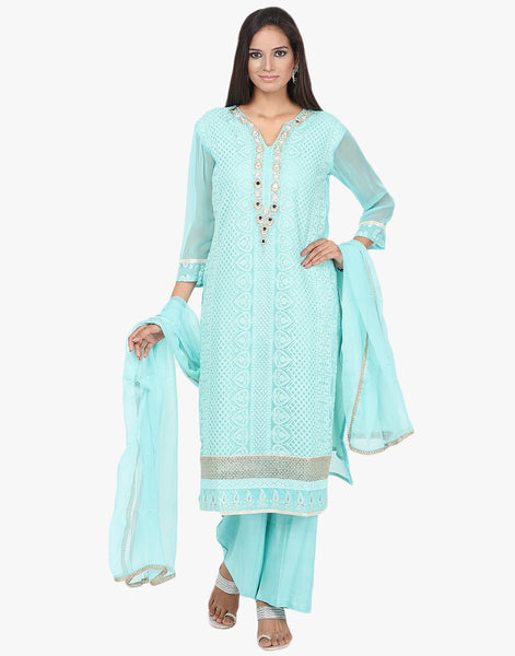 Semi Stitched All-Over Thread Embroidered Georgette Suit By Meena Bazaar