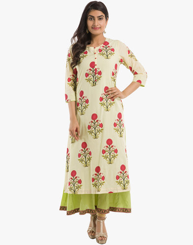 Meena Bazaar: Double Layered Floral Printed Anarkali Kurti