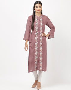 Wine Cotton Kurti