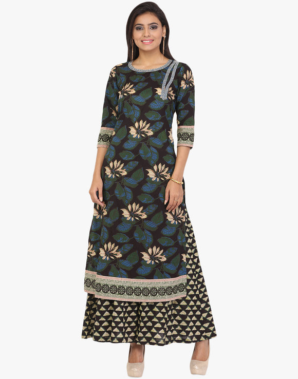 Block Printed Cotton Kurti With Palazzo By Meena Bazaar