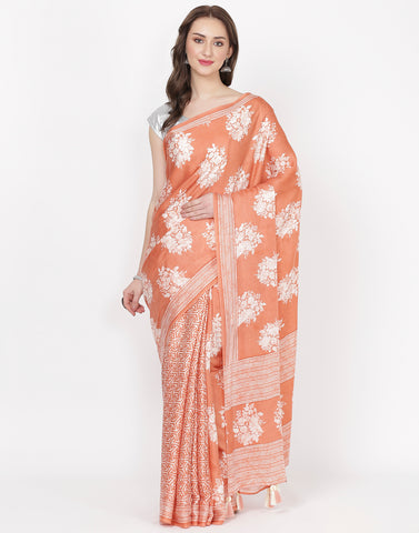 Peach Printed Satin Saree