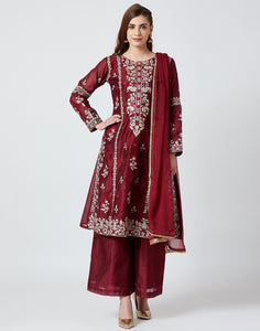 Maroon Cotton Chanderi Salwar Kameez