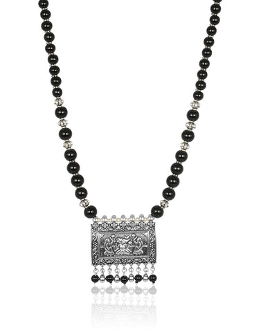 Traditional Necklace In Oxidised Silver With Pearl String By Meena Bazaar