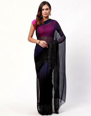 Black Chiffon Saree With stone Work Border