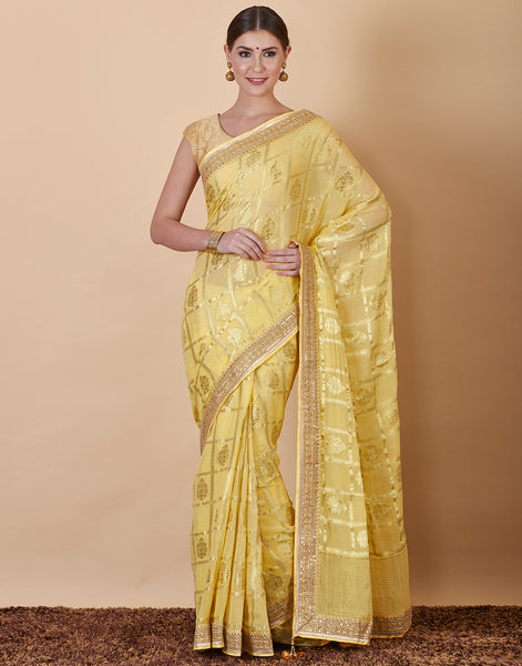 Mustard Art Georgette Embroidered Saree