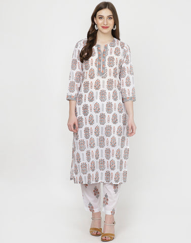White Orange Cotton Kurti with Palazzo