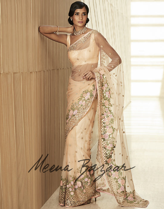 Meena Bazaar: Net Saree With Pita Floral Embroidery