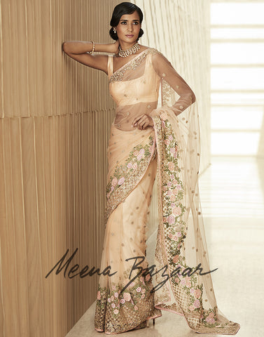 Net Saree With Pita Floral Embroidery