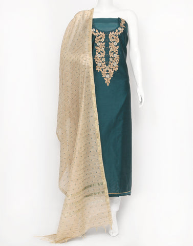 Peacock Blue Cotton Chanderi Suit Set