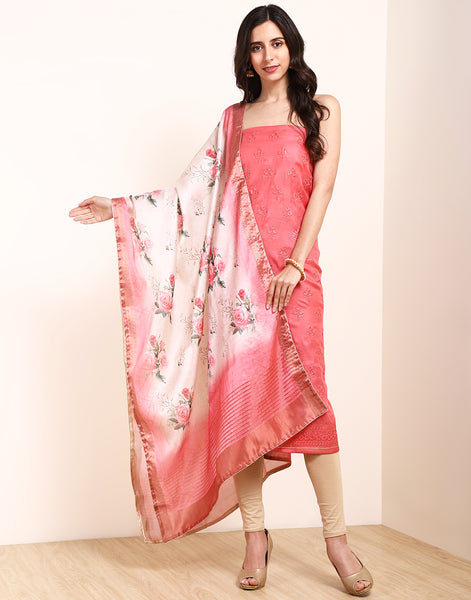Peach Pink Art Handloom Suit Set