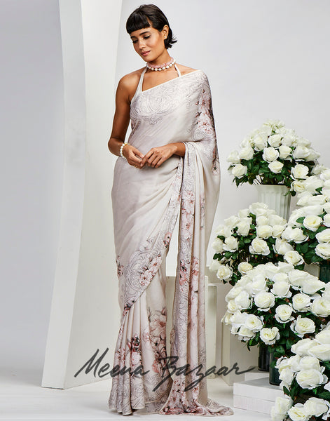 Cream Satin Printed Saree