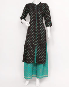 Black Sea Green Art Handloom Kurti with Palazzo