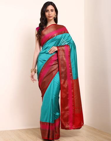 Lake Blue Cotton Woven Saree