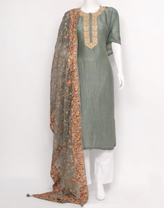 Grey Art Handloom Suit Set
