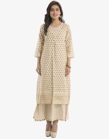 Double Layered Printed Cotton Kurti By Meena Bazaar