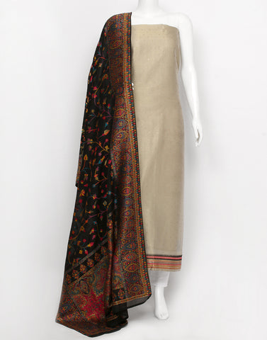 Beige Black Art Handloom Suit Set