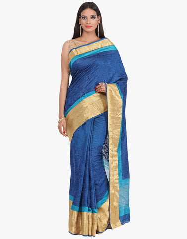 Tussar Saree With All-Over Thread Embroidered Jaal By Meena Bazaar