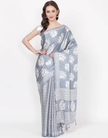 Grey Printed Satin Saree
