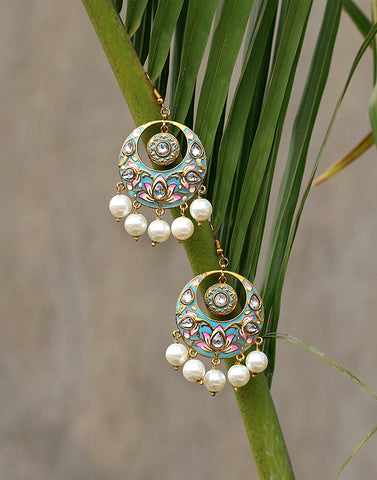 Turquoise Blue Floral Enamel Chandbali Earrings