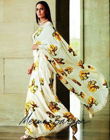 Floral Printed Satin Saree