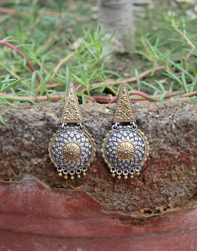 Meena Bazaar: Oxidised Mix-Metal Drop Earrings
