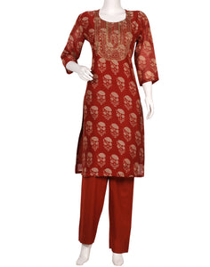 Maroon Cotton Chanderi Kurti with Palazzo