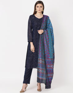 Navy Blue Firozee Cotton Chanderi Salwar Kameez