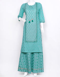 Sea Green Cotton Kurti with Skirt