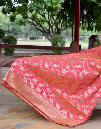 Meena Bazaar: Dupion Silk Saree With Zari Weave