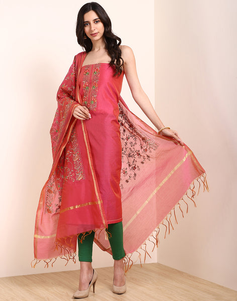 Pink Brown Chanderi Suit Set