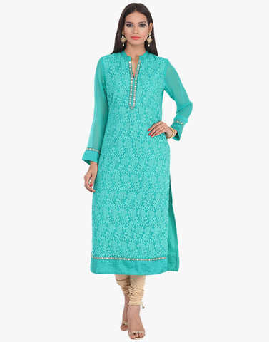 Georgette Kurti With All-Over Thread Embroidery By Meena Bazaar