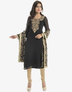 Georgette Suit With Embroidered Yoke By Meena Bazaar