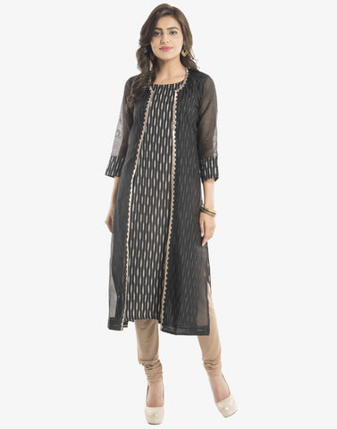 Double Layered Cotton Chanderi Kurti With Ikat Print By Meena Bazaar