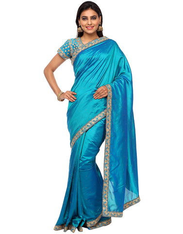 Embroidered Dupion Silk Saree With Ready Blouse By Meena Bazaar