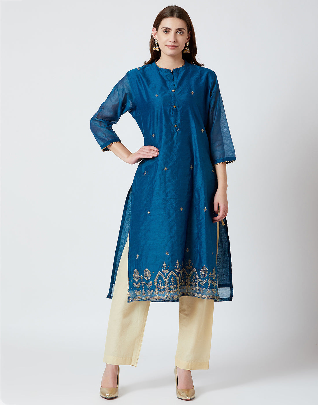Blue Cotton Chanderi Salwar Kameez