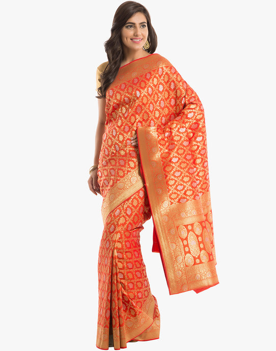 Banarasi Handloom Silk Saree With All-over Geometrical Floral Jaal By Meena Bazaar