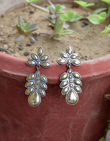 Meena Bazaar:  Oxidized Leaf Pattern Drop Earrings