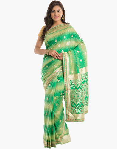 Embroidered Cotton Saree With Shaded Weave By Meena Bazaar