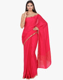 Self Embossed Pure Crepe Saree With Woven Zari Border By Meena Bazaar
