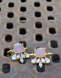 Meena Bazaar: Diamond & Rose Stone Embedded Statement Earrings