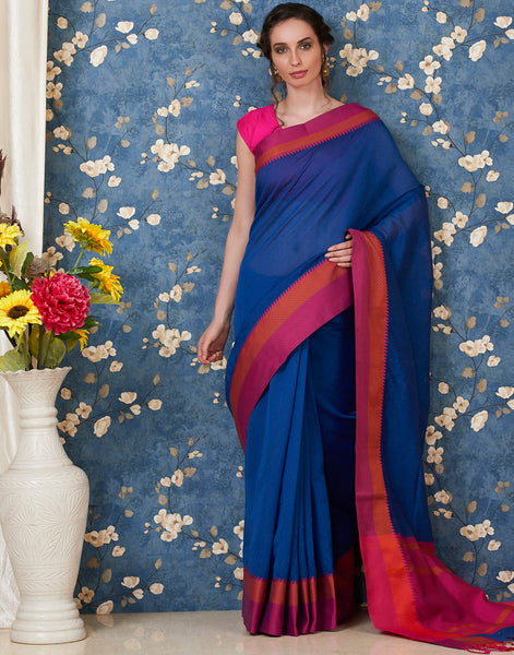 Navy Blue Cotton Woven Saree