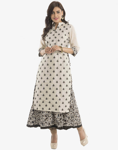 Double Layered Embroidered Cotton Kurti By Meena Bazaar