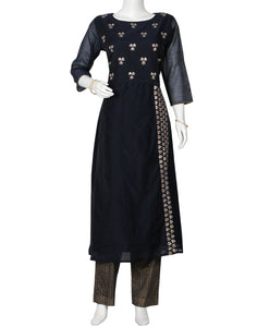 Navy Blue Cotton Chanderi Kurti with Palazzo