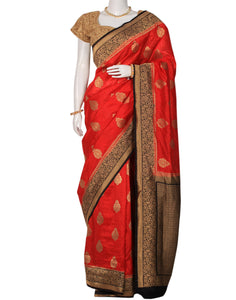 Red Art Handloom Woven Printed Saree