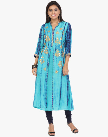 Tie and Dye Cotton Kurti Embellished With Mirror Work By Meena Bazaar