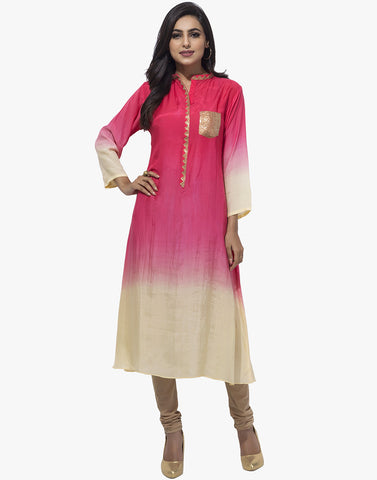 Ombre Cotton Kurti With Sequins Work By Meena Bazaar