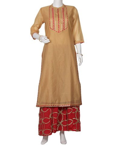 Beige Rani Cotton Chanderi Kurti with Palazzo